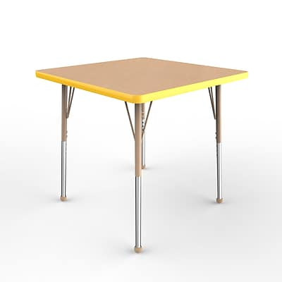 ECR4Kids Thermo-Fused Adjustable Ball 30 Square Laminate Activity Table Maple/Yellow/Sand (ELR-14216-MPYESDSB)