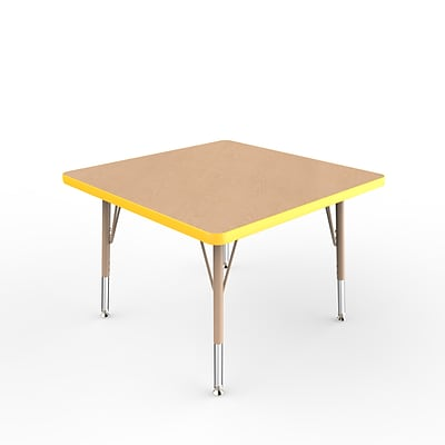 ECR4Kids Thermo-Fused Adjustable Swivel 30 Square Laminate Activity Table Maple/Yellow/Sand (ELR-14216-MPYESDTS)