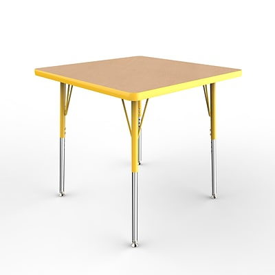 ECR4Kids Thermo-Fused Adjustable Swivel 30 Square Laminate Activity Table Maple/Yellow (ELR-14216-MPYEYESS)
