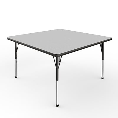 ECR4Kids Thermo-Fused Adjustable Ball 48 Square Laminate Activity Table Grey/Black (ELR-14217-GYBKBKSB)
