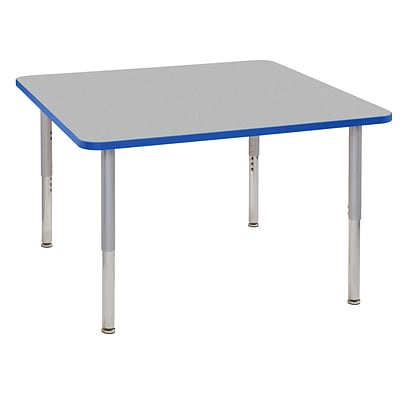 ECR4Kids Thermo-Fused Adjustable Leg 48 Square Laminate Activity Table Grey/Blue/Silver (ELR-14217-GYBLSVSL)