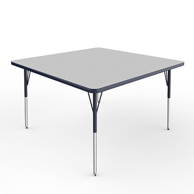 ECR4Kids Thermo-Fused Adjustable Swivel 48 Square Laminate Activity Table Grey/Navy (ELR-14217-GYNVNVSS)