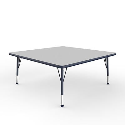 ECR4Kids Thermo-Fused Adjustable Ball 48 Square Laminate Activity Table Grey/Navy (ELR-14217-GYNVNVTB)