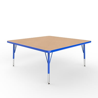 ECR4Kids Thermo-Fused Adjustable Swivel 48 Square Laminate Activity Table Maple/Blue (ELR-14217-MPBLBLTS)