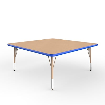 ECR4Kids Thermo-Fused Adjustable Swivel 48 Square Laminate Activity Table Maple/Blue/Sand (ELR-14217-MPBLSDTS)