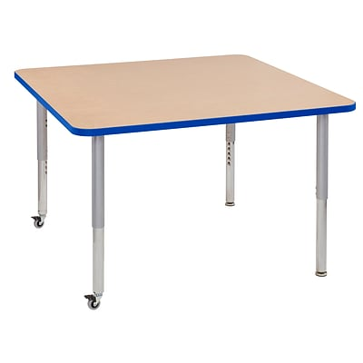 ECR4Kids Thermo-Fused Adjustable Leg 48 Square Laminate Activity Table Maple/Blue/Silver (ELR-14217-MPBLSVSL)