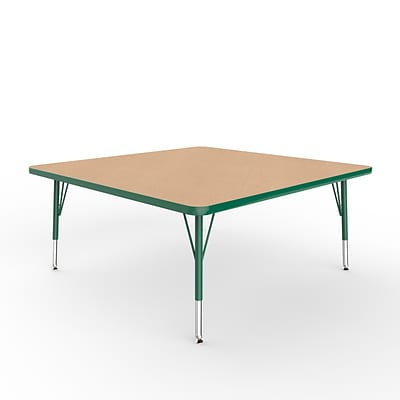 ECR4Kids Thermo-Fused Adjustable Swivel 48 Square Laminate Activity Table Maple/Green (ELR-14217-MPGNGNTS)