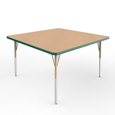 ECR4Kids Thermo-Fused Adjustable Swivel 48 Square Laminate Activity Table Maple/Green/Sand (ELR-14217-MPGNSDSS)