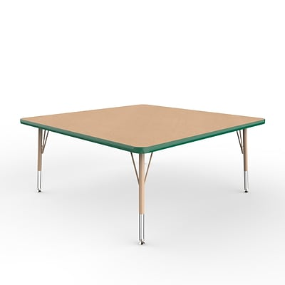 ECR4Kids Thermo-Fused Adjustable Swivel 48 Square Laminate Activity Table Maple/Green/Sand (ELR-14217-MPGNSDTS)