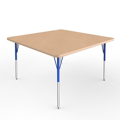 ECR4Kids Thermo-Fused Adjustable Swivel 48 Square Laminate Activity Table Maple/Maple/Blue (ELR-14217-MPMPBLSS)