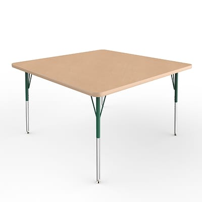 ECR4Kids Thermo-Fused Adjustable Swivel 48 Square Laminate Activity Table Maple/Maple/Green (ELR-14217-MPMPGNSS)