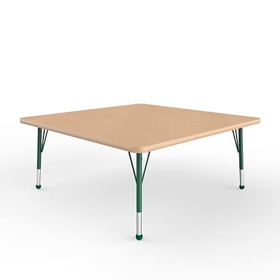 ECR4Kids Thermo-Fused Adjustable Ball 48 Square Laminate Activity Table Maple/Maple/Green (ELR-14217-MPMPGNTB)