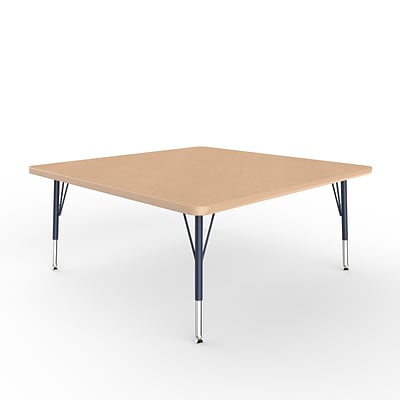 ECR4Kids Thermo-Fused Adjustable Swivel 48 Square Laminate Activity Table Maple/Maple/Navy (ELR-14217-MPMPNVTS)