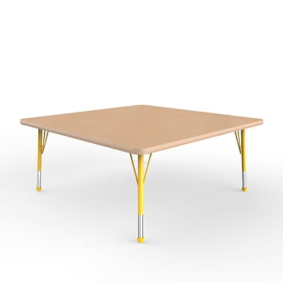 ECR4Kids Thermo-Fused Adjustable Ball 48 Square Laminate Activity Table Maple/Maple/Yellow (ELR-14217-MPMPYETB)