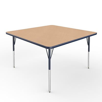 ECR4Kids Thermo-Fused Adjustable Swivel 48 Square Laminate Activity Table Maple/Navy (ELR-14217-MPNVNVSS)
