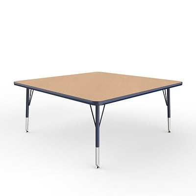 ECR4Kids Thermo-Fused Adjustable Swivel 48 Square Laminate Activity Table Maple/Navy (ELR-14217-MPNVNVTS)