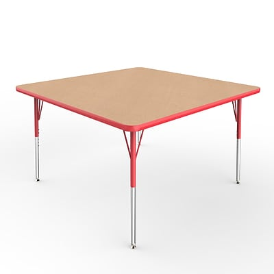 ECR4Kids Thermo-Fused Adjustable Swivel 48 Square Laminate Activity Table Maple/Red (ELR-14217-MPRDRDSS)