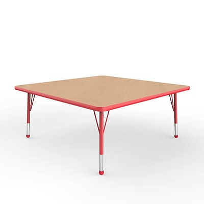 ECR4Kids Thermo-Fused Adjustable Ball 48 Square Laminate Activity Table Maple/Red (ELR-14217-MPRDRDTB)