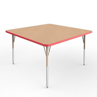 ECR4Kids Thermo-Fused Adjustable Swivel 48 Square Laminate Activity Table Maple/Red/Sand (ELR-14217-MPRDSDSS)