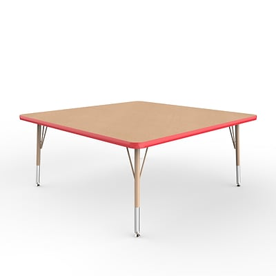 ECR4Kids Thermo-Fused Adjustable Swivel 48 Square Laminate Activity Table Maple/Red/Sand (ELR-14217-MPRDSDTS)