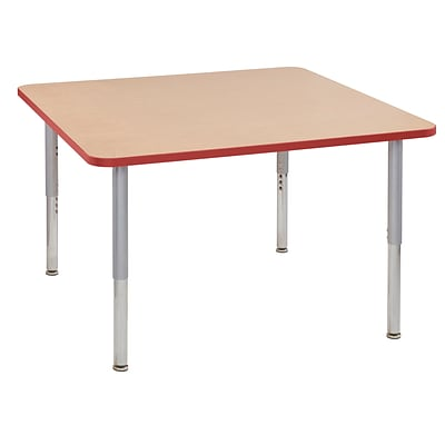 ECR4Kids Thermo-Fused Adjustable Leg 48 Square Laminate Activity Table Maple/Red/Silver (ELR-14217-MPRDSVSL)