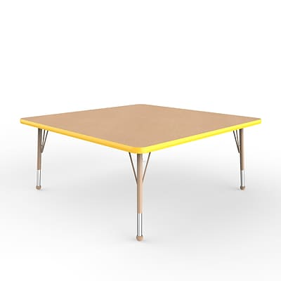 ECR4Kids Thermo-Fused Adjustable Ball 48 Square Laminate Activity Table Maple/Yellow/Sand (ELR-14217-MPYESDTB)