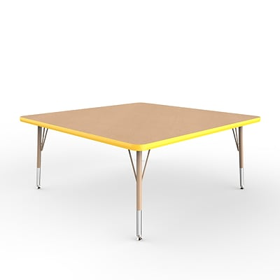 ECR4Kids Thermo-Fused Adjustable Swivel 48 Square Laminate Activity Table Maple/Yellow/Sand (ELR-14217-MPYESDTS)