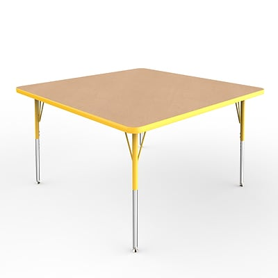 ECR4Kids Thermo-Fused Adjustable Swivel 48 Square Laminate Activity Table Maple/Yellow (ELR-14217-MPYEYESS)