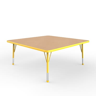 ECR4Kids Thermo-Fused Adjustable Ball 48 Square Laminate Activity Table Maple/Yellow (ELR-14217-MPYEYETB)