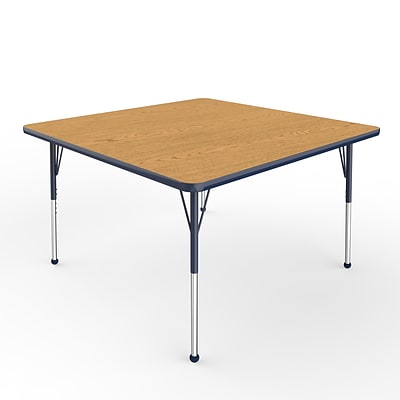 ECR4Kids Thermo-Fused Adjustable Ball 48 Square Laminate Activity Table Oak/Navy (ELR-14217-OKNVNVSB)