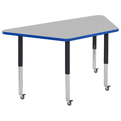 ECR4Kids Thermo-Fused Adjustable Leg 60 x 30 Trapezoid Laminate Activity Table Grey/Blue/Black (ELR-14219-GYBLBKSL)