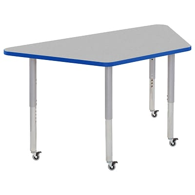 ECR4Kids Thermo-Fused Adjustable Leg 60 x 30 Trapezoid Laminate Activity Table Grey/Blue/Silver (ELR-14219-GYBLSVSL)