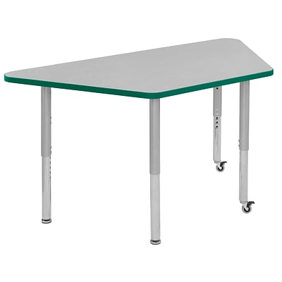 ECR4Kids Thermo-Fused Adjustable Leg 60 x 30 Trapezoid Laminate Activity Table Grey/Green/Silver (ELR-14219-GYGNSVSL)