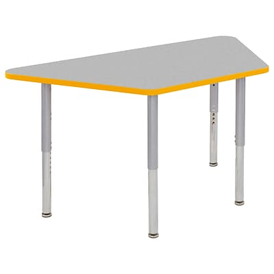 ECR4Kids Thermo-Fused Adjustable Leg 60 x 30 Trapezoid Laminate Activity Table Grey/Yellow/Silver (ELR-14219-GYYESVSL)