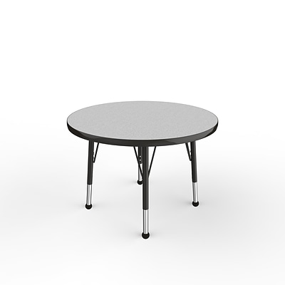 ECR4Kids Thermo-Fused Adjustable Ball 30 Round Laminate Activity Table Grey/Black (ELR-14221-GYBKBKTB)