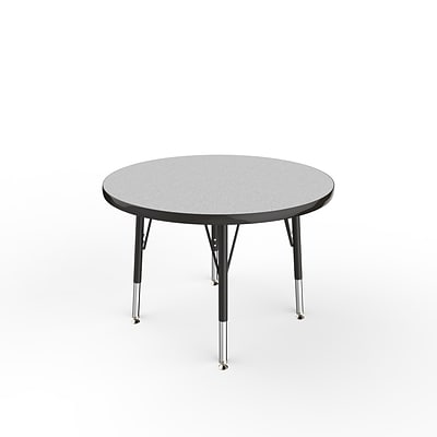 ECR4Kids Thermo-Fused Adjustable Swivel 30 Round Laminate Activity Table Grey/Black (ELR-14221-GYBKBKTS)