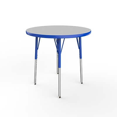 ECR4Kids Thermo-Fused Adjustable Swivel 30 Round Laminate Activity Table Grey/Blue (ELR-14221-GYBLBLSS)