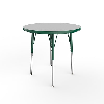 ECR4Kids Thermo-Fused Adjustable Swivel 30 Round Laminate Activity Table Grey/Green (ELR-14221-GYGNGNSS)