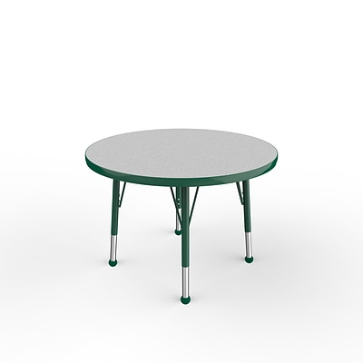 ECR4Kids Thermo-Fused Adjustable Ball 30 Round Laminate Activity Table Grey/Green (ELR-14221-GYGNGNTB)