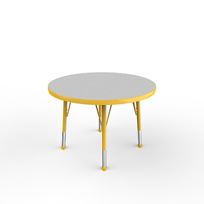 ECR4Kids Thermo-Fused Adjustable Ball 30 Round Laminate Activity Table Grey/Yellow (ELR-14221-GYYEYETB)