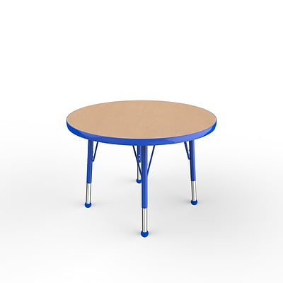 ECR4Kids Thermo-Fused Adjustable Ball 30 Round Laminate Activity Table Maple/Blue (ELR-14221-MPBLBLTB)