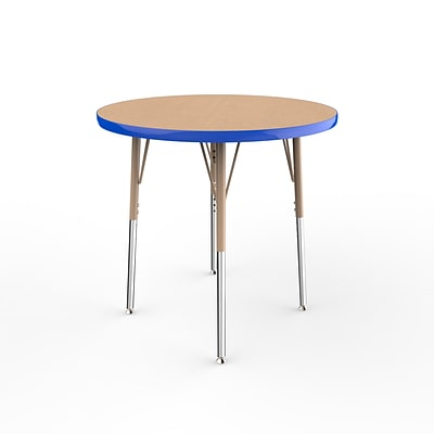 ECR4Kids Thermo-Fused Adjustable Swivel 30 Round Laminate Activity Table Maple/Blue/Sand (ELR-14221-MPBLSDSS)