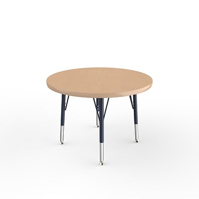 ECR4Kids Thermo-Fused Adjustable Swivel 30 Round Laminate Activity Table Maple/Maple/Navy (ELR-14221-MPMPNVTS)