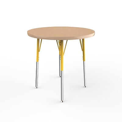 ECR4Kids Thermo-Fused Adjustable Swivel 30 Round Laminate Activity Table Maple/Maple/Yellow (ELR-14221-MPMPYESS)
