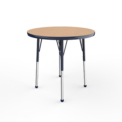 ECR4Kids Thermo-Fused Adjustable Ball 30 Round Laminate Activity Table Maple/Navy (ELR-14221-MPNVNVSB)