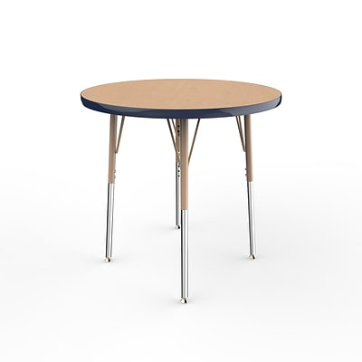 ECR4Kids Thermo-Fused Adjustable Swivel 30 Round Laminate Activity Table Maple/Navy/Sand (ELR-14221-MPNVSDSS)