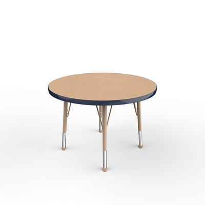 ECR4Kids Thermo-Fused Adjustable Ball 30 Round Laminate Activity Table Maple/Navy/Sand (ELR-14221-MPNVSDTB)
