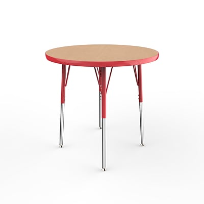 ECR4Kids Thermo-Fused Adjustable Swivel 30 Round Laminate Activity Table Maple/Red (ELR-14221-MPRDRDSS)