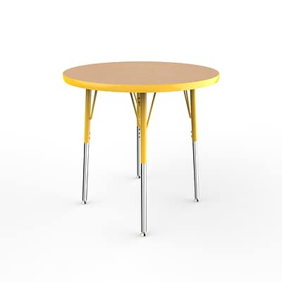 ECR4Kids Thermo-Fused Adjustable Swivel 30 Round Laminate Activity Table Maple/Yellow (ELR-14221-MPYEYESS)