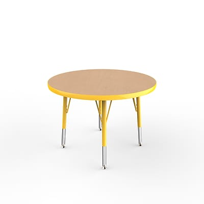 ECR4Kids Thermo-Fused Adjustable Swivel 30 Round Laminate Activity Table Maple/Yellow (ELR-14221-MPYEYETS)